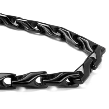 Black Tungsten Carbide Men's Wheat Link Necklace Chain