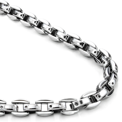 Tungsten Carbide 7MM Oval Link Necklace Chain
