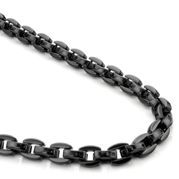 Black Tungsten Carbide 7MM Oval Link Necklace Chain