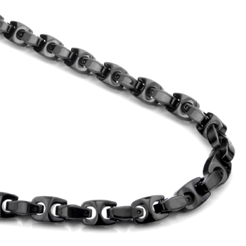 Black Tungsten Carbide 7MM Marina Link Necklace Chain