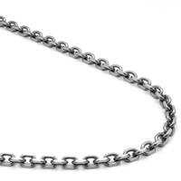 Titanium 4MM Diamond Cut Rolo Link Necklace Chain