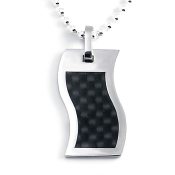 Stainless Steel Carbon Fiber Wavy Pendant w/ Bead Chain