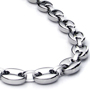 Titanium Men's 10MM Flat Oval Link Necklace Chain