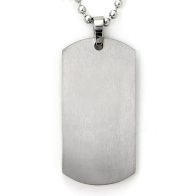 Titanium Engravable Dog Tag Pendant w/ Bead Chain