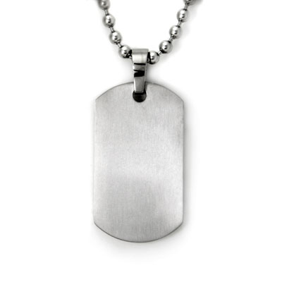 Titanium Engravable Dog Tag Pendant w/ 3mm Bead Chain