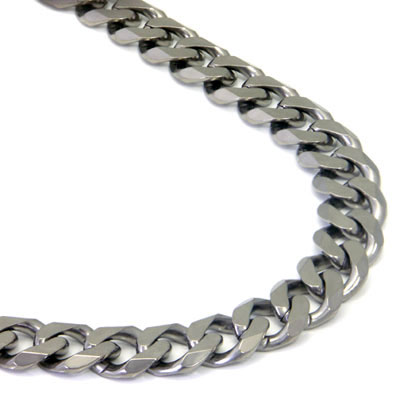 Italian Cut Titanium 10MM Curb Necklace Chain