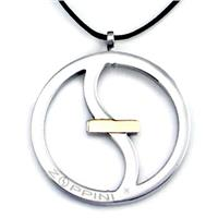 Zoppini Stainless Steel Pendant w/ 18K Gold Inlay (Large)