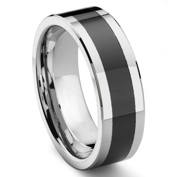 2nd Generation Tungsten Carbide Two Tone Beveled Wedding Band Ring