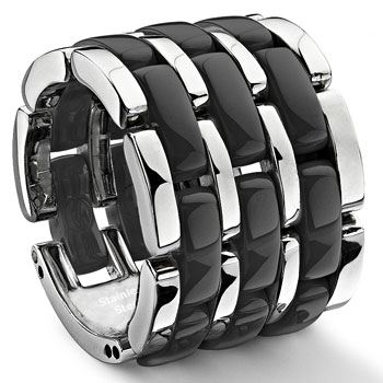Black 3 Row Diamond Ceramic Unisex Wedding Ring
