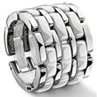 3 Row white Diamond Ceramic Unisex Wedding Ring