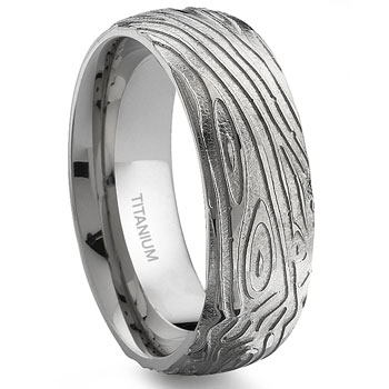 7 Degree WOOD GRAIN Titanium Band Ring