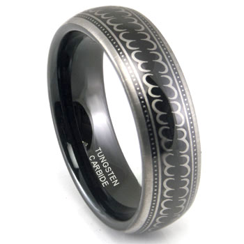 Black Tungsten Carbide 6mm Laser Engraved Wedding Band Ring