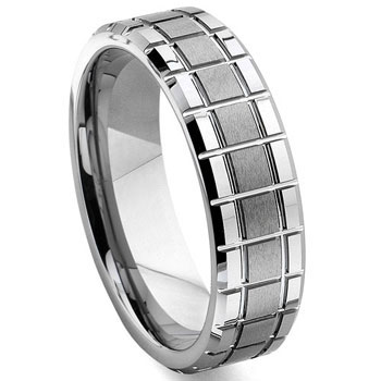 Tungsten Carbide Mechanic Design Wedding Band Ring