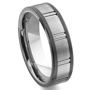 2nd Generation Tungsten Carbide Two Tone Horizontal Groove Wedding Band Ring