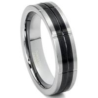 Tungsten Carbide Two Tone Grooved Wedding Band Ring