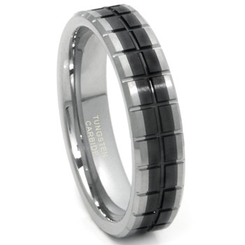 Tungsten Carbide Two Tone 5mm Groove Wedding Band Ring