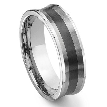 2nd Generation Tungsten Carbide Two Tone Concave Wedding Band Ring