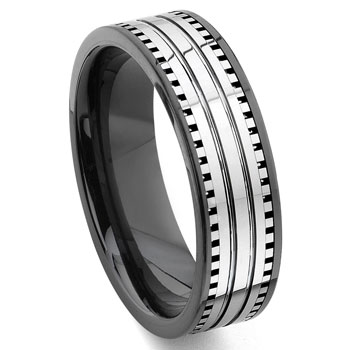 2nd Generation Tungsten Carbide Two Tone Milgrain Wedding Band Ring