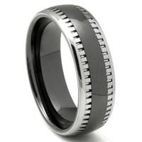 2nd Generation Tungsten Carbide Two Tone Milgrain Dome Wedding Band Ring