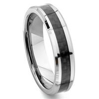 Tungsten Carbide 6MM Carbon Fiber Inlay Wedding Band Ring