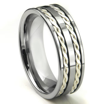 Tungsten Carbide Silver Rope Wedding Band Ring
