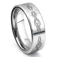 Tungsten Carbide Laser Engraved Tribal Wedding Band Ring