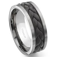 Titanium Brown Braided Leather Wedding Band Ring