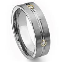 Tungsten Carbide Gold Eternity Diamond Wedding Band Ring