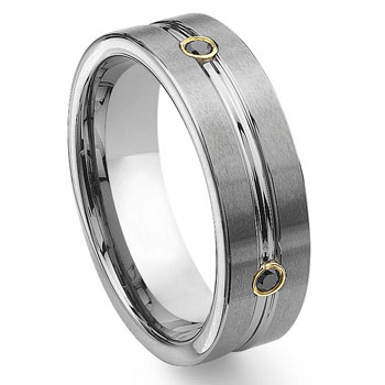 Tungsten Carbide Gold Eternity Black Diamond Wedding Band Ring