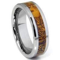 Tungsten Carbide Brown Riverstone Inlay Wedding Band Ring