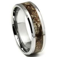 Tungsten Carbide Earth Riverstone Inlay Wedding Band Ring