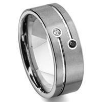 TAO Tungsten Carbide Black & White Diamond Wedding Band Ring