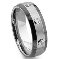 Tungsten Carbide Diamond Two-Tone  Wedding Band Ring