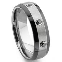 Tungsten Carbide Black Diamond Two-Tone Wedding Band Ring