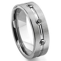 Tungsten Carbide Black Diamond Ribbed Wedding Band Ring