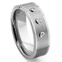Tungsten Carbide Diamond Flat Top Wedding Band Ring