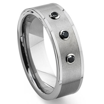 Tungsten Carbide Black Diamond Flat Top Wedding Band Ring