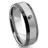 Tungsten Carbide Solitaire Black Diamond Two-Tone  Wedding Band Ring