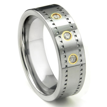 Tungsten Carbide 14K Gold Diamond Milgrain Wedding Band Ring