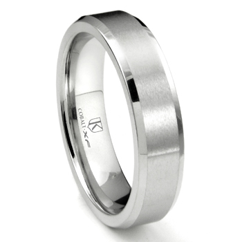 Cobalt XF Chrome 6MM Beveled Wedding Band Ring