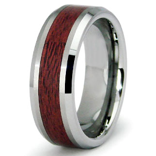 Tungsten Carbide Maple Wood Wedding Band Ring