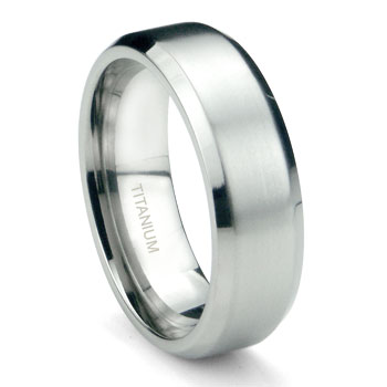 Titanium 6mm Satin Finish Beveled Wedding Band Ring