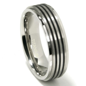 Titanium 7MM Satin Finish Wedding Band Ring w/ 3 Black Lines