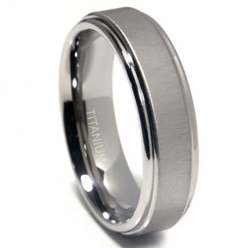 Titanium 7mm Satin Finish Round Edges Wedding Band Ring
