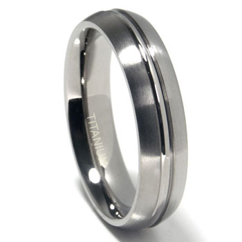 Titanium 6mm Ribbed Matte Dome Wedding Band Ring