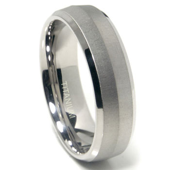 Titanium 7mm Satin Finish Knife Edge Wedding Band Ring