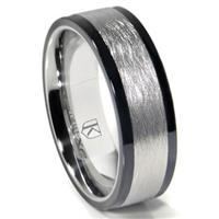 Cobalt XF Chrome 8MM Italian Di Seta Finish Two-Tone Flat Wedding Band Ring