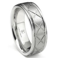 Cobalt XF Chrome 8MM Diamond Cut Wedding Band Ring