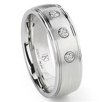 Cobalt XF Chrome 8MM Diamond Dome Wedding Band Ring
