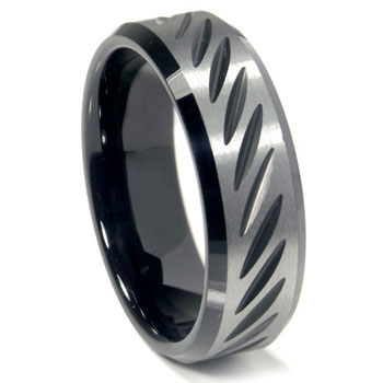 Black Tungsten Carbide 8MM Diamond Cut Beveled Wedding Band Ring